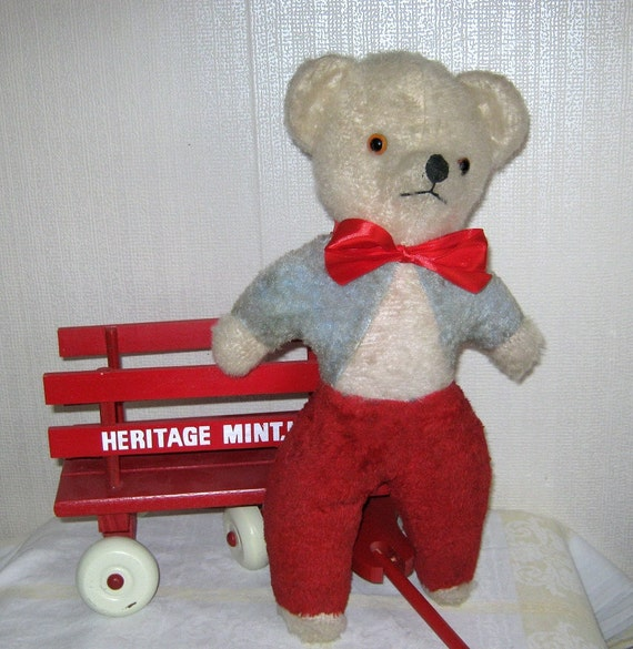 Vintage Mohair Teddy Bear Bell in Head Red White Blue called Jingle
