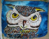 Owl Purse Cyan background/ long strap or Owl Purse Turquoise with shorter strap