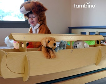 Noah's Ark Wooden Rail and Organizer for Kids' Beds, Size medium, color natural birch