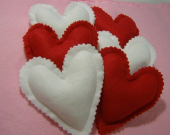 Heart Mini Pillows Red and White Felt set of 6