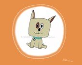 Whimsical Art Greeting Card - A Pet Dog  Named Billy -  Giclee Print - Give a gift of Art that's Great for Framing