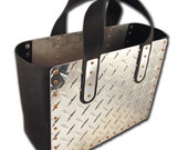 Man Tote TOOL Tote Diamond Plate and Black Leather Handles, urban man, man-bag, man on the go, unisex, great guy gift