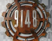 CUSTOM Steampunk House Numbers in Rusted Steel & Stainless