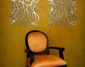 Art Nouveau Web No. 6 in Brushed Aluminum Pair 23 X 23 FREE SHIPPING