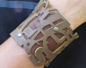 Typography Cuff No. 1 in Rust & Tan Leather FREE SHIPPING
