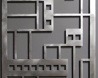 Prairie Panel No. 1 in Brushed Aluminum Large Wall Art Sculpture