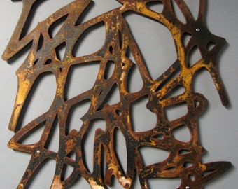 Untitled No. 101 in Rusted Steel 23 X 23 Mid-Century Modern Organic Forms Floating Wall Art