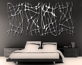Art Nouveau Web 4 Panel in Brushed Aluminum