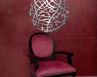 "Art Nouveau Web No. 1 in Brushed Aluminum 23"" Circle"