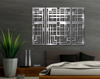 Maze Triptych Floating Wall Sculpture 40in X 30in Hand-brushed Aluminum