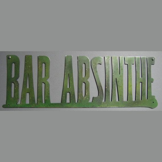 Bar Absinthe sign in Aluminum Green Gold