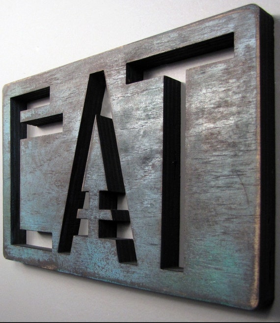 EAT Hand Painted Wooden Sign Blue Green Small
