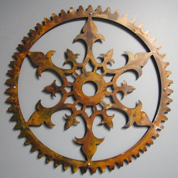 Steampunk Rusted Steel Ornate Gear 23 inch