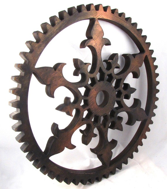 Steampunk Distressed Painted Ornate Gear 16 inch