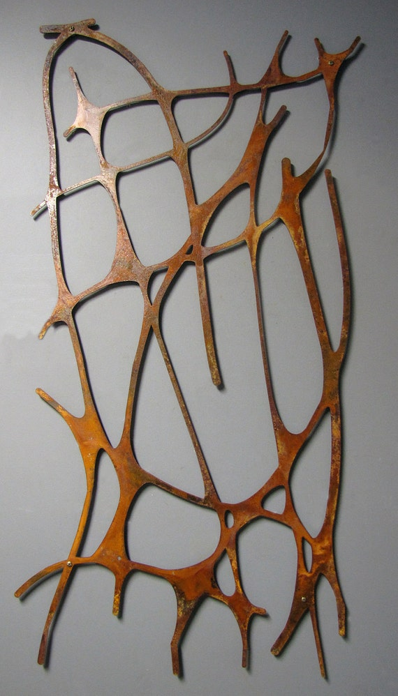 Art Nouveau Web No. 2 in Rusted Steel Organic Natural Forms Floating Wall Art