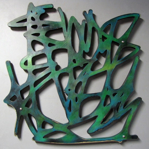 CLEARANCE Untitled No. 101 in Blue Green 23 X 23