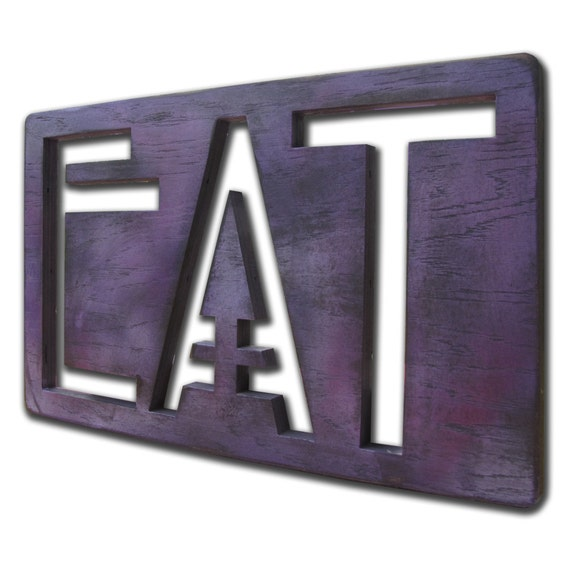 EAT Hand Painted Wooden Sign French Lavender Large