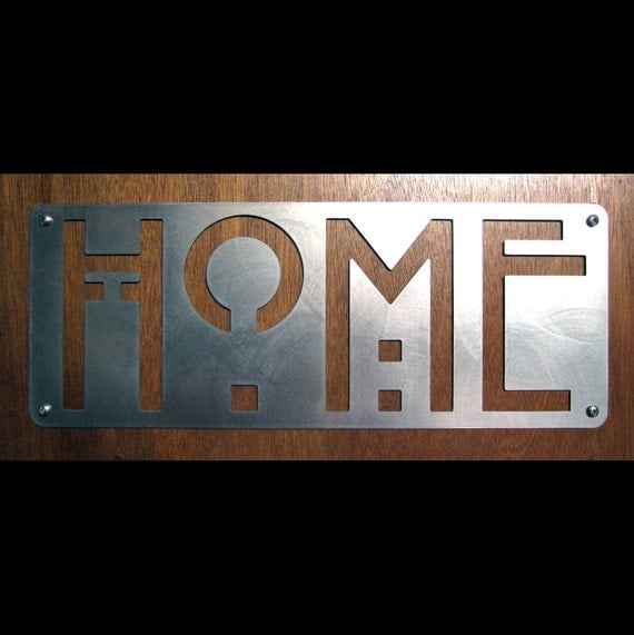 HOME sign in Stainless Steel