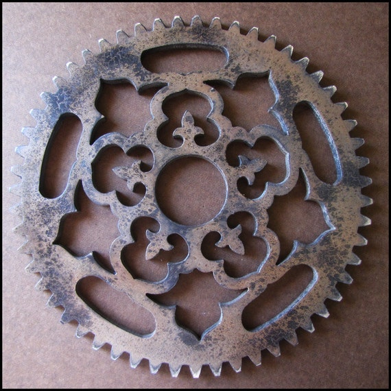 Steampunk Distressed Painted Ornate Gear 12 inch