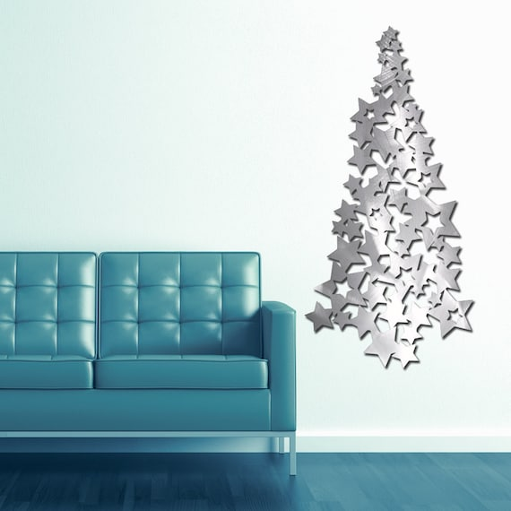 "46"" Star Collage Tree in Textured Aluminum"
