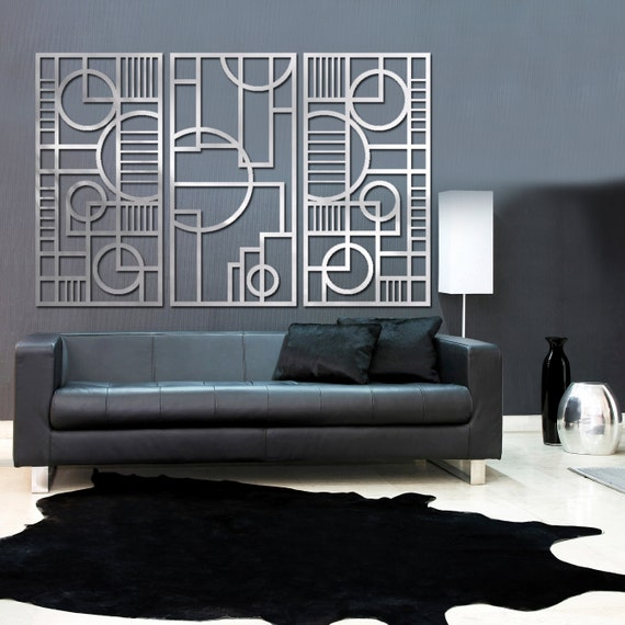 Art Deco Wall Panels: Deco Panel TRIO 23 X 46 In Brushed Aluminum FREE SHIPPING