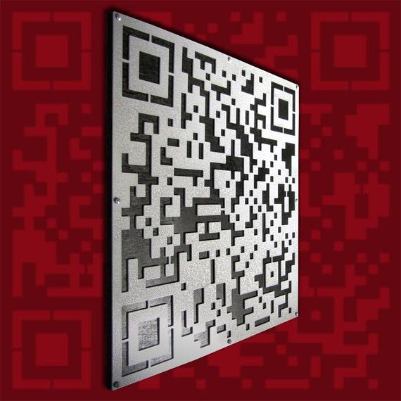 QR Code Wall Sculpture Aluminum and Wood 23 X 23