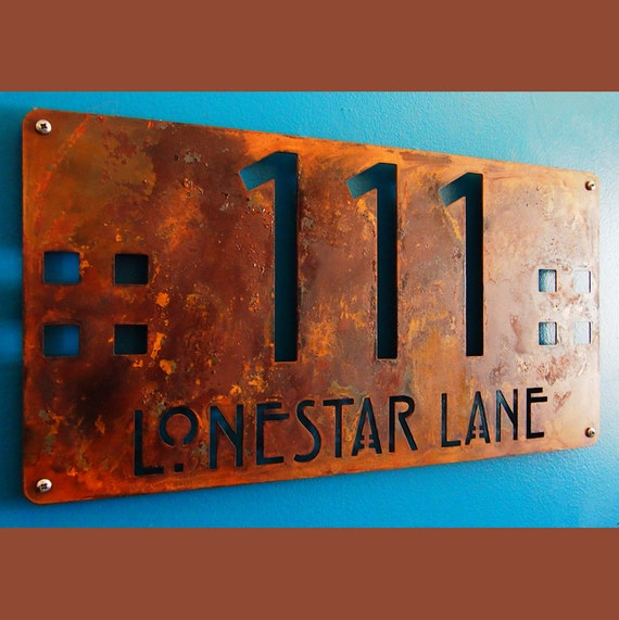CUSTOM Mission Style Deluxe Address Sign in Rusted Steel
