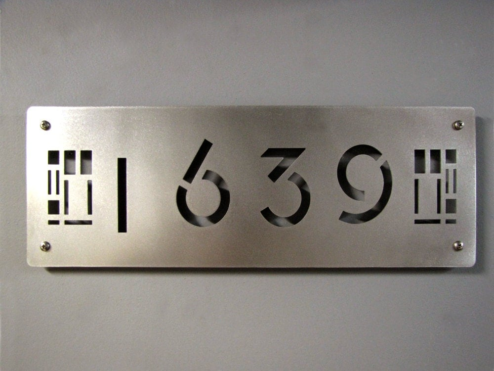Custom prairie style house numbers in stainless steel - Decorative house number signs ...