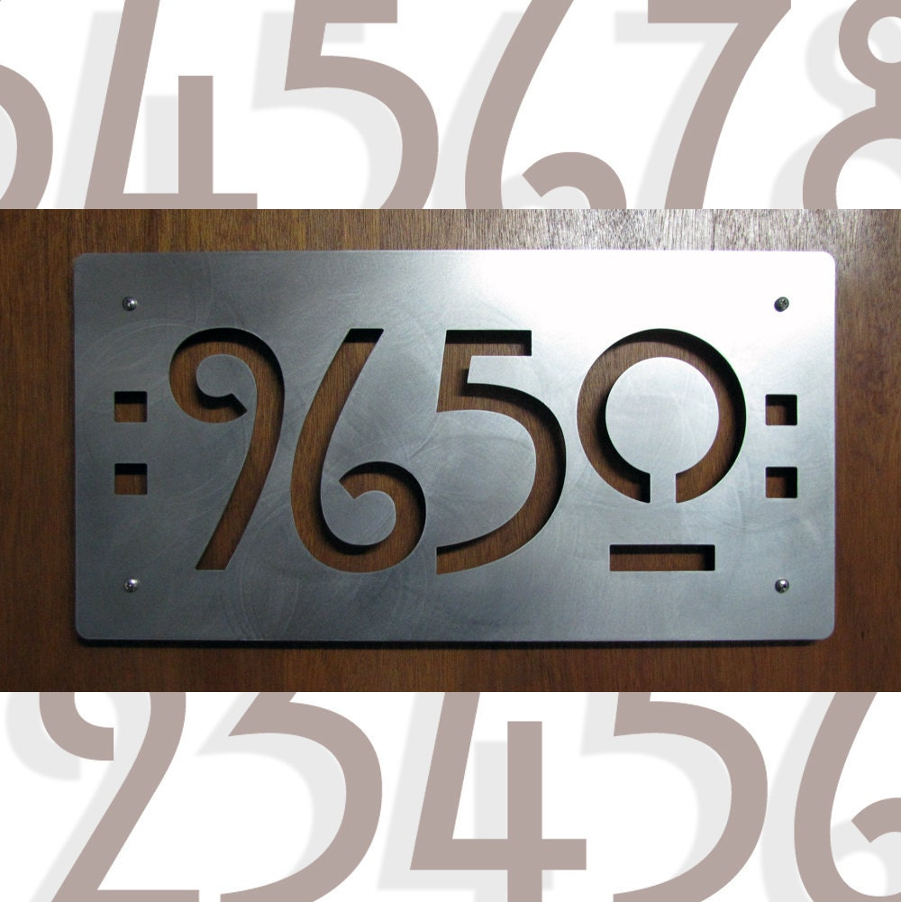 Custom mission style house numbers in stainless steel ?zoom