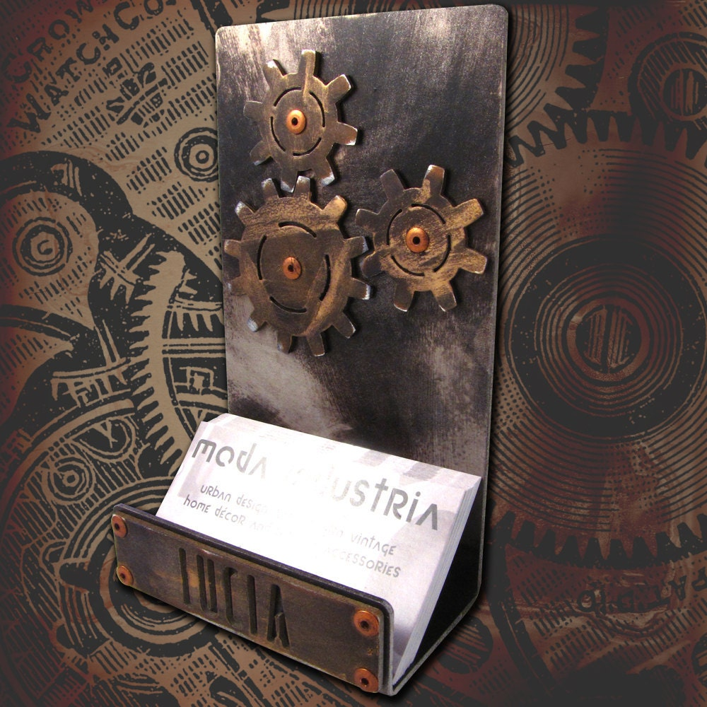 Personalized steampunk business card holder for Steampunk business card holder