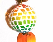 polymer clay necklace - The Rainbow Globe - long necklace with a beautiful mosaic bead pendant - BeadsTeam - charity item