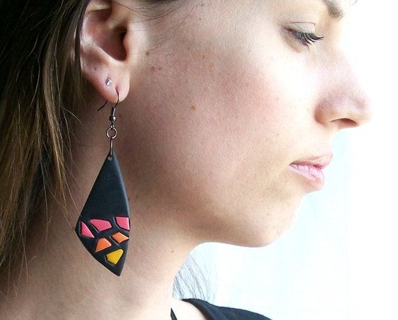 RESERVED dangle earrings Sunset Sails ooak polymer clay dangle earrings mosaic in pink tangerine yellow on black, EtsyHandmade,