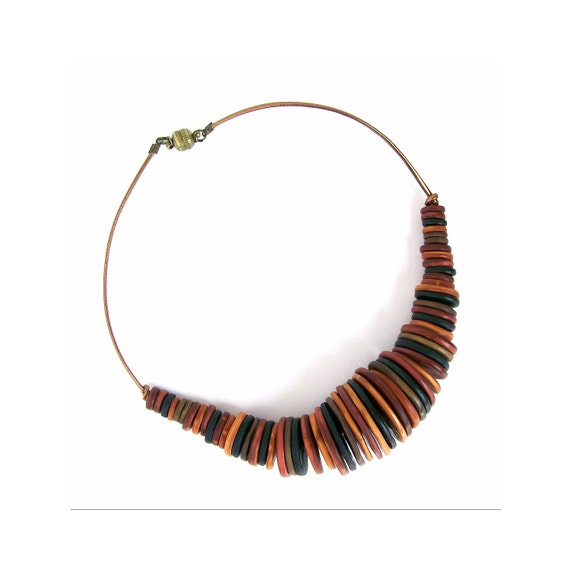 Stripy disks bib necklace polymer clay necklace - The Stripes - gold-copper-brass-black discs one-of-a-kind necklace - BeadsTeam