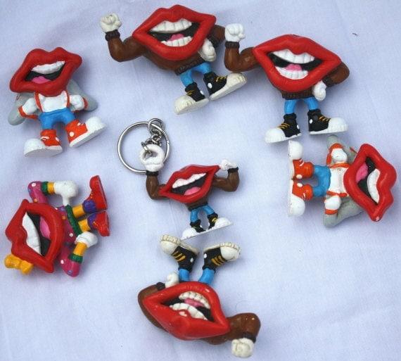 Big LOT 80s Toys pvc Figures FUN STUFF Tang Mouth Lips