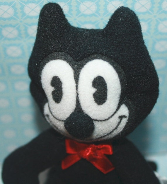 """SALE... 5""""  plush FELIX The CAT  with Red Bow"""