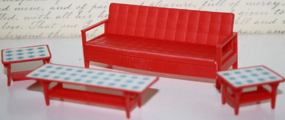 Vintage Liddle Kiddle doll  Red SOFA & 3 TABLES Little Kiddles dollhouse furniture set dolls