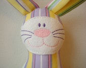 """Lizzie Love Easter Bunny """"Hops"""" - Plush Rabbit Softie - Easter Stripe Fabric"""