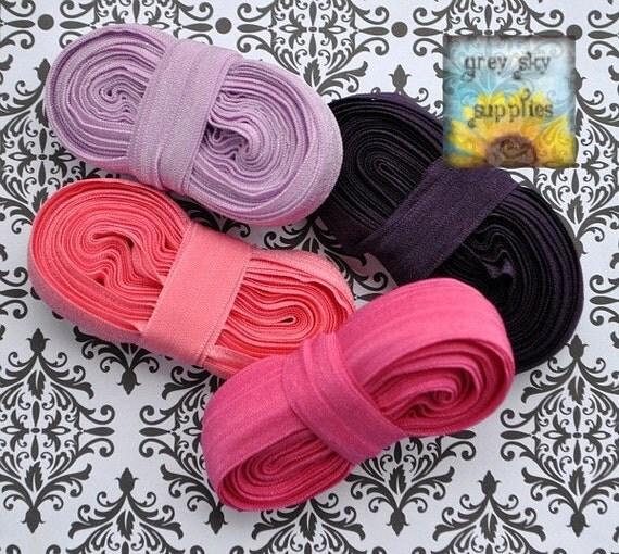5/8 Inch Shiny Fold Over Elastic Trim -- 20 Yard Grab Bag -- Pinks and Purples