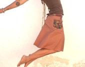 Reserved for Jen - Dusty Rose Dancing Wrap Skirt - Batik Detailed Pocket and Ties