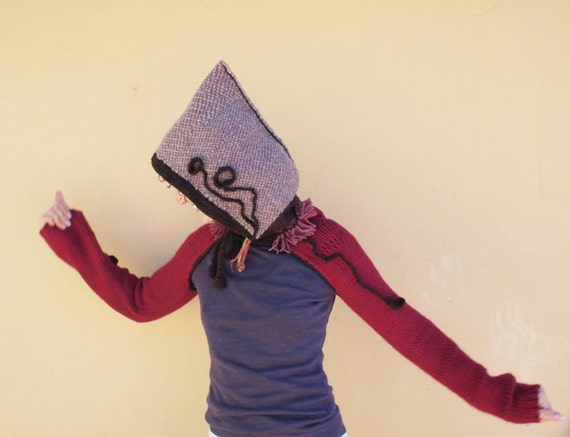 Pixie Hood Shrug - Cozy Up-cycled Hand Woven Sculptural Winter Wear