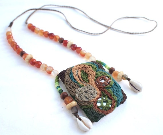 SALE - Mirrored Embroidery Fiber Art Gypsy Pouch - With Cowrie Shells & Faceted SemiPrecious Stones