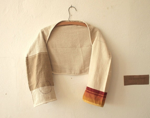 Reserved for flywithikarus - Raw Silk & Pima Cotton Bolero Shrug - Sunrise Stripes, Glass beads and Chilkat Weaving