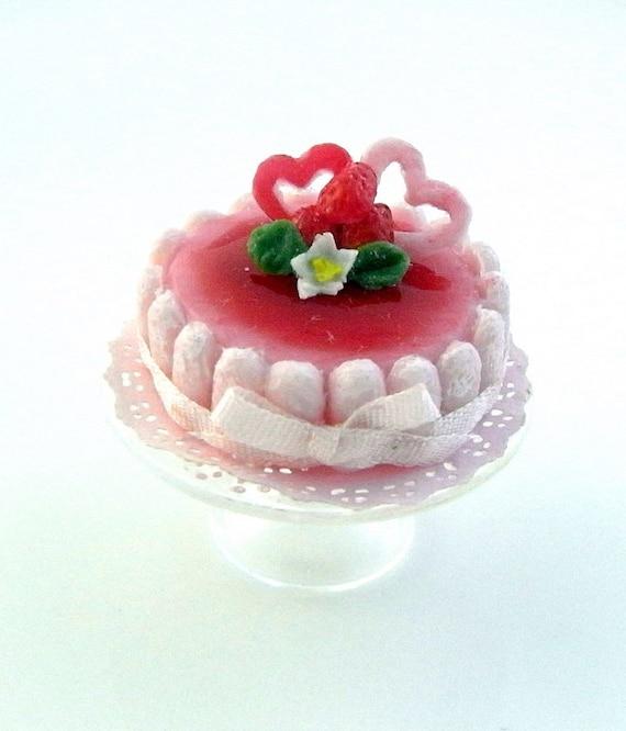 Strawberry Charlotte cake by Asakomini on Etsy