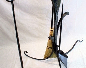 art nouveau fireplace tool set