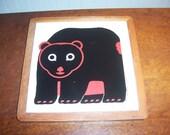Vintage 1983 TAYLOR NG Black, Red & White Bear Cub Framed Trivet Wall Hanging