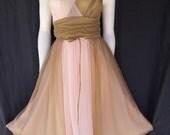 Sale 60s Vintage VANITY FAIR Coco Blush Chiffon Waltz Bridal NIGHTGOWN Size 34 S M Full Skirt Billow Swish Mad Men Betty Elegance