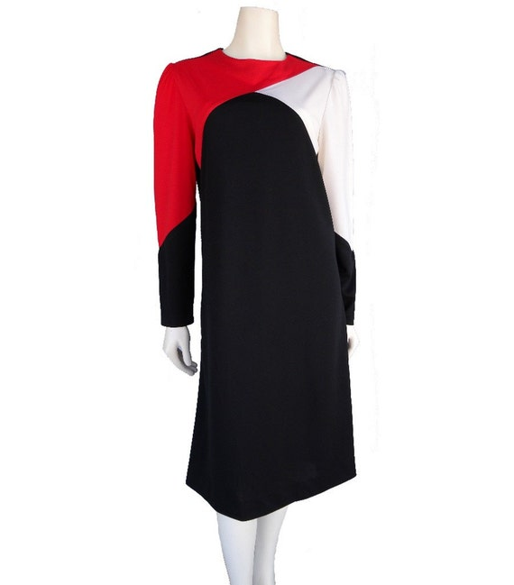 1960s Vintage MOD Color Block DRESS Size L STRETCH Jersey Knit, Long Sleeve Sheath with Red Black Off White Bias Contrast Panels. Bust 40, Waist 38, Slimming Mad Men Joanie Meghan Career Sophisticated Sexy Secretary