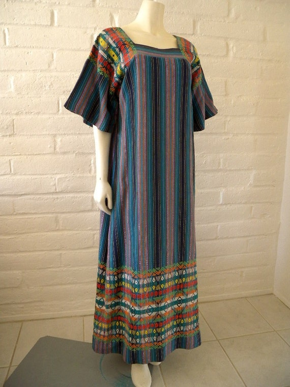 Ethnic GUATEMALAN FOLK DRESS Embroidered Huipil Maxi Sz Medium, in Vibrant Blue Multi Weave with Lush Embroidery Accents