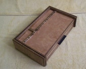 Fiddle Back Maple Men's Jewelry Box Valet or Dresser Box