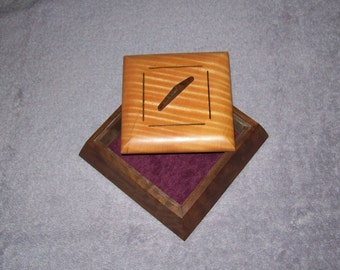 Walnut and Fiddle Back Maple Trapezoid Box